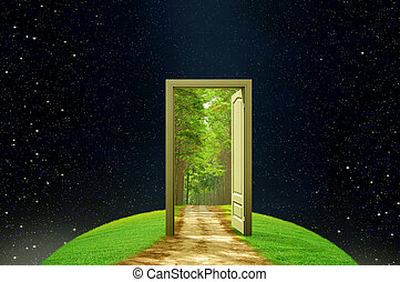 creativiteit, aarde, en, verbeelding, geopend, deur