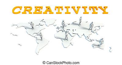 creativiteit, concept, met, handel team