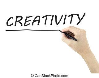 creativiteit, geschreven, man's, woord, hand