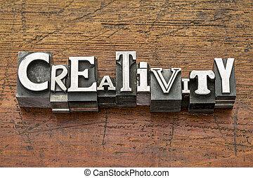 creativiteit, woord, in, metaal, type