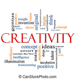 creativiteit, woord, wolk, concept