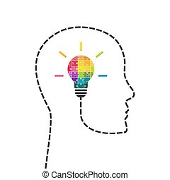 Creativity and innovation concept. Human head line with light bulb made of colorful puzzle.