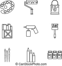 Creativity art icons set, outline style
