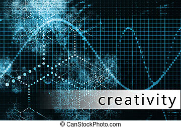 Creativity as a Blue Data Background Illustration
