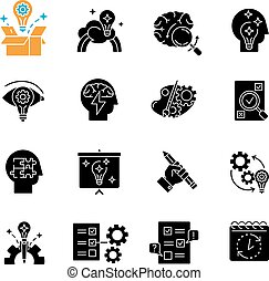Creativity black glyph icons set on white space