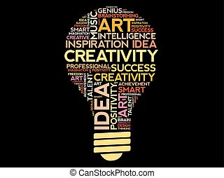 Creativity bulb word cloud collage, concept background