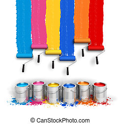 Creativity concept: set of color roller brushes with trails ...