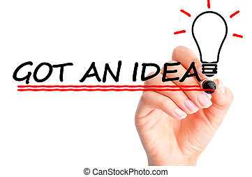 Creativity concept suggesting a new business idea