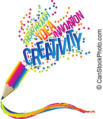 Creativity concept with colorful pencil and creative theme ...