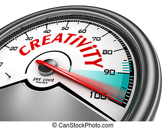 Creativity conceptual meter indicate hundred per cent