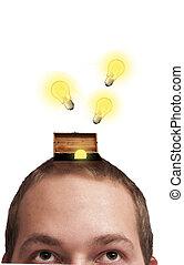Consept of creativity with lightbulb