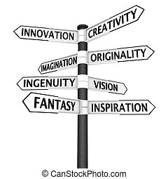 Creativity crossroads sign - Signpost with creativity -...