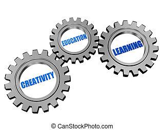 creativity, education, learning  in silver grey gears