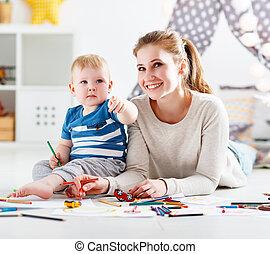 creativity., enfants, ensemble, fils, mère, bébé, dessin