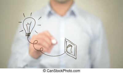 """Creativity, Glowing Bulb Concept, Man writing on transparent screen"""