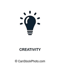 Creativity icon. Monochrome style design from business icon collection. UI. Pixel perfect simple pictogram creativity icon. Web design, apps, software, print usage.