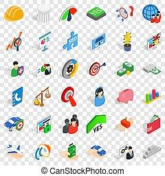 Creativity icons set, isometric style