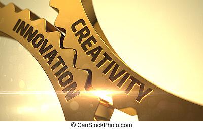 Creativity Innovation Concept. Golden Metallic Cog Gears. 3D.