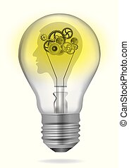 Creativity inteligence bulb concept. - Colorful illustration...