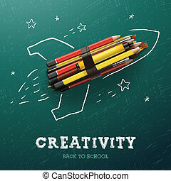 Creativity learning. Rocket ship launch with pencils - sketch on the blackboard, vector Eps10 image.