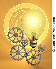 Creativity - Light bulb and gearwork. Digital illustration.