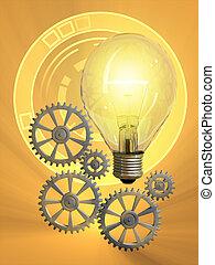 Creativity - Light bulb and gearwork. Digital illustration.