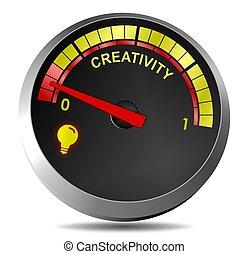 A metaphor showing creativity gauge running on empty