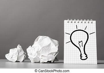 creativity - creative process. crumpled wads and notebook...