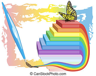 Creativity success background with ladder and butterfly