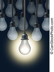 Creativity with a bright shinning light bulb standing out in...