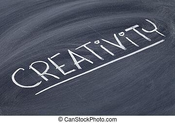 creativity word on blackboard