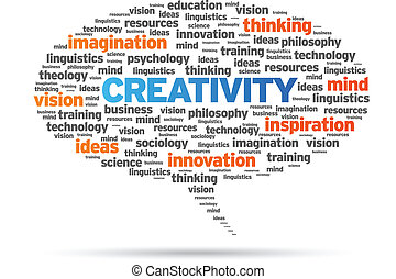 Creativity word speech bubble illustration on white background.