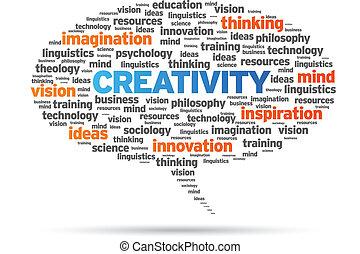 Creativity word speech bubble illustration on white...