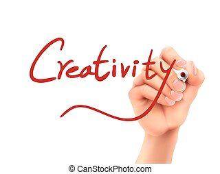 creativity word written by hand on a transparent board