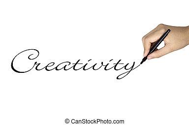 creativity word written by human hand