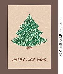 creativo, árbol de navidad, card.