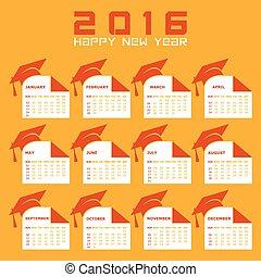 creativo, año nuevo, 2016, calendario