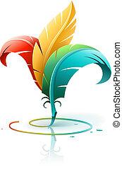 creativo, arte, concepto, con, color, plumas