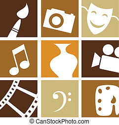 creativo, artes, iconos