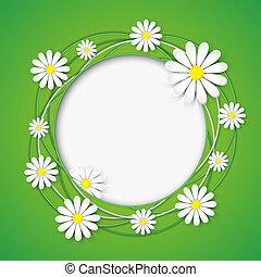 creativo, astratto, fondo, con, camomilla, fiore