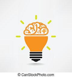 creativo, cerebro, símbolo, símbolo, señal, educación, icono