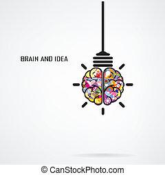 creativo, cervello, bulbo, luce, idea, concetto