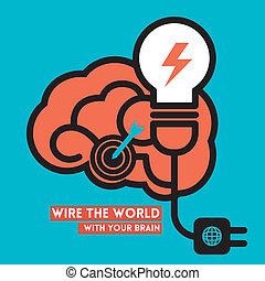 creativo, cervello, lampadina, potere, concetto, vettore,...