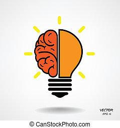 creativo, cervello, simbolo, simbolo, segno, educazione, icona