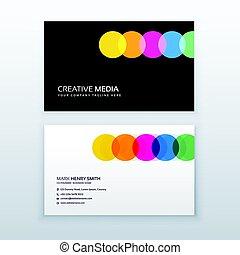 creativo, colorido, círculos, limpio, tarjeta comercial, diseño