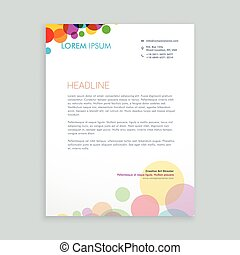 creativo, colorido, círculos, membrete, diseño