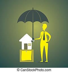 creativo, concetto, assicurazione, casa