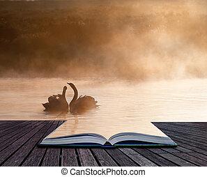 creativo, conept, imagen, de, romántico, escena, de, apareado, par, de, cisnes, en, páginas, de, libro