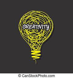 creativo, creatividad, palabra, en, bombilla