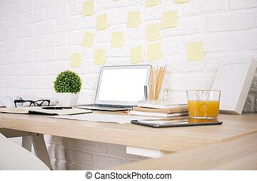 creativo, diseñador, escritorio, lado